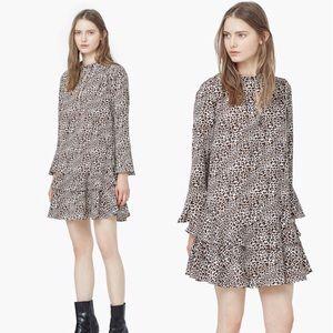 NWT Mango Animal Print Keyhole Dress Ruffle Skirt